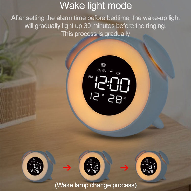 Cartoon Animal Shape Bedside Lamp Music LED Alarm Clock(Pink) |