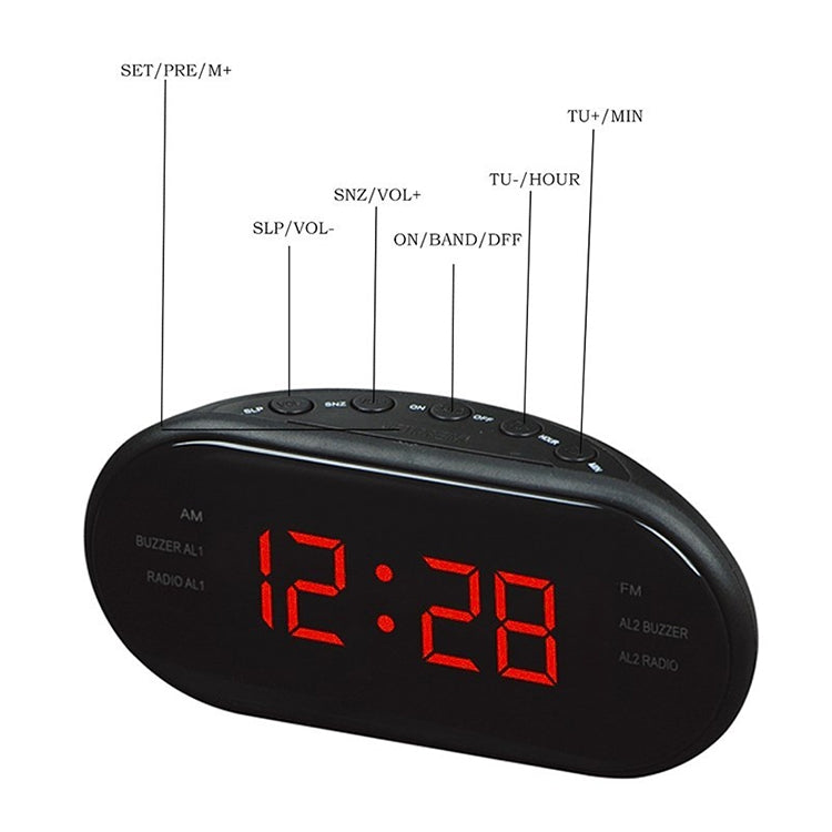Oval Radio LED Digital Alarm Clock (Blue) - Star Produkte