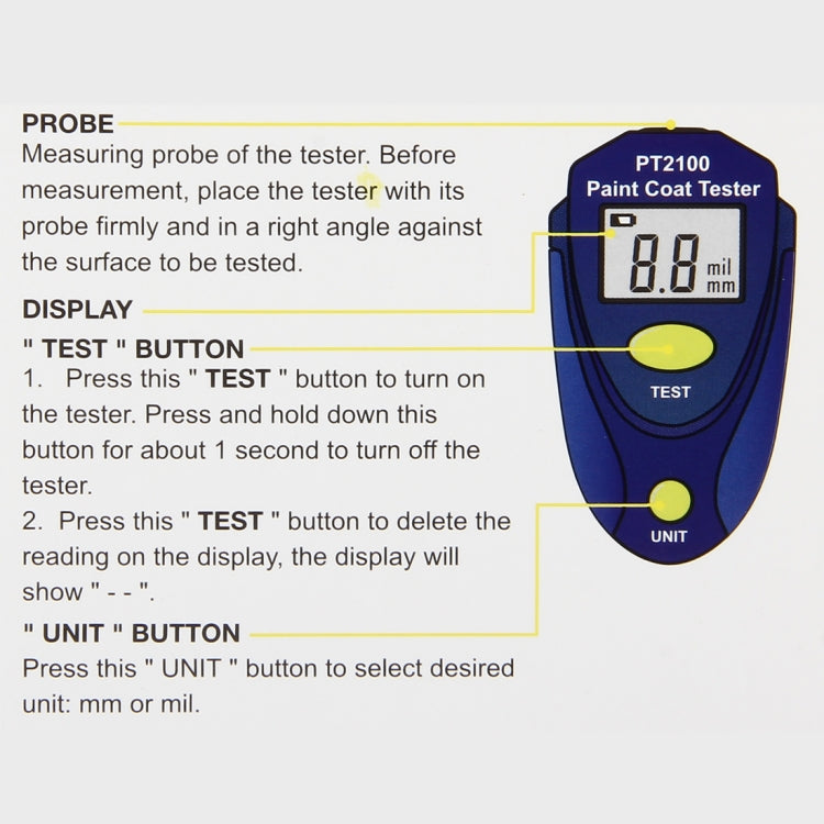 PT2100  2.0mm Max Range 2 Units mm/mil LED Digital Display Paint Coat Tester Paint Thickness Tester - Star Produkte