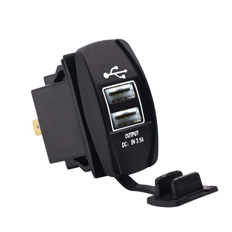 Car Waterproof Dual USB Charger DC12-24V 3.1A, with LED Indicator Light(White Light) - Star Produkte