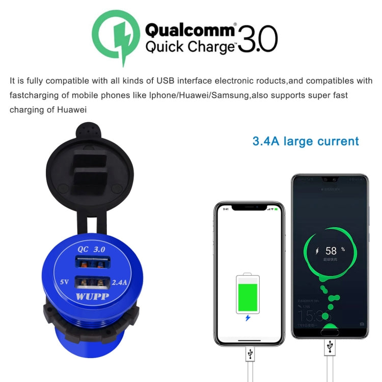 Universal Car QC3.0 Dual Port USB Charger Aluminum Alloy 2 Port USB Adapter 5V 2.4A IP66(Green Light) - Star Produkte