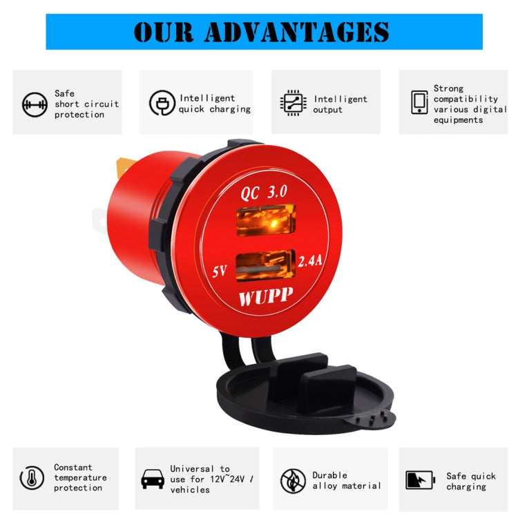 Universal Car QC3.0 Dual Port USB Charger Aluminum Alloy 2 Port USB Adapter 5V 2.4A IP66(Orange Light) |
