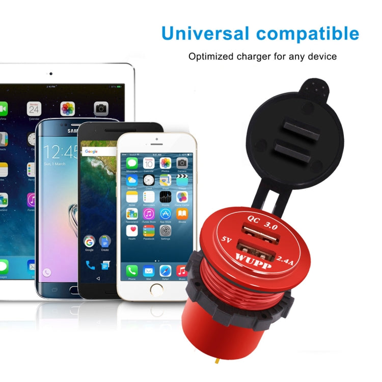 Universal Car QC3.0 Dual Port USB Charger Aluminum Alloy 2 Port USB Adapter 5V 2.4A IP66(Red Light) - Star Produkte
