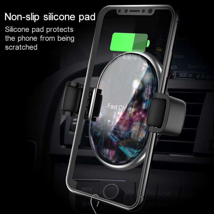 CW7 10W Max Output Roller Memory Car Mount Clip Holder Wireless Charger(Silver) - star-produkte.myshopify.com