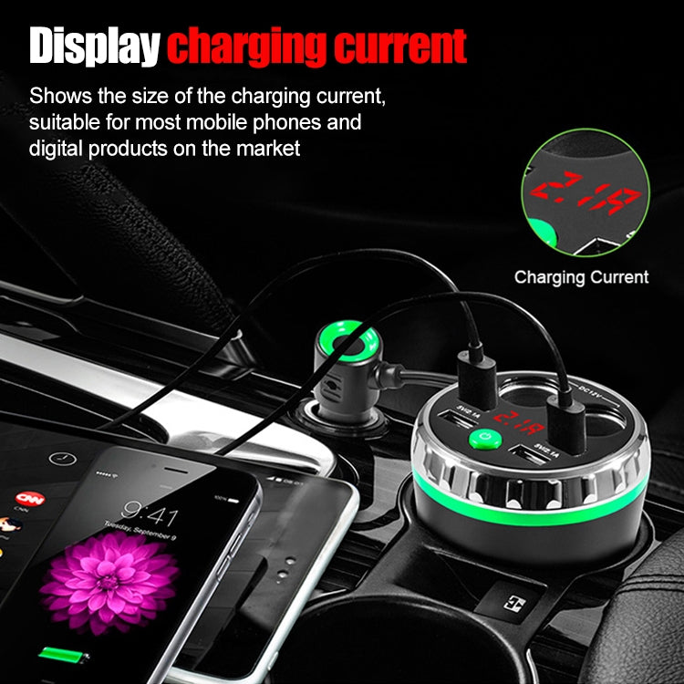 Cup Holder Car Charger Dual Cigarette Lighter 4USB Ports Charger Car MP3 Player (Green) - Star Produkte