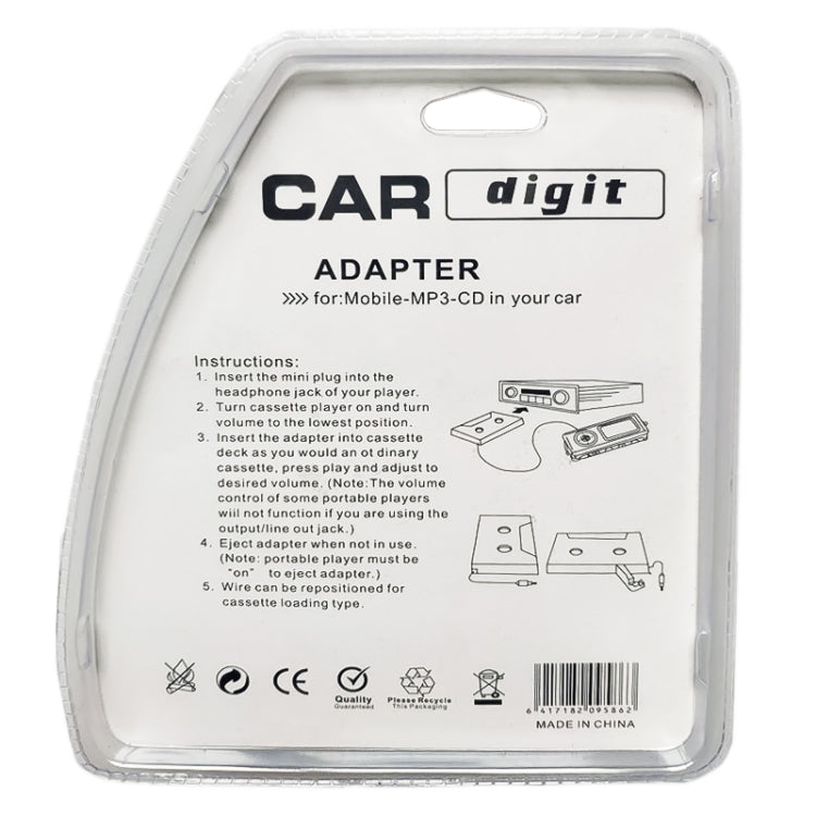 3,5 mm Jack Car Kassettenrekorder Bandadapter Kassetten-MP3-Player-Konverter, Kabellänge: 1,1 m |