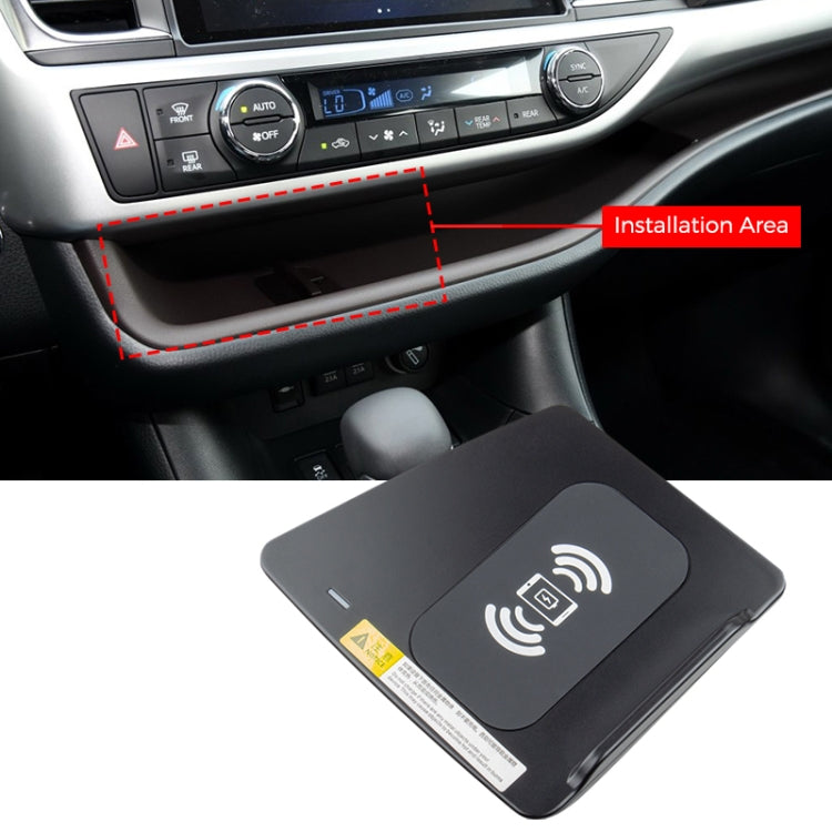 Car Qi Standard Wireless Charger 10W Quick Charging for Toyota Highlander 2016-2019, Left Driving |