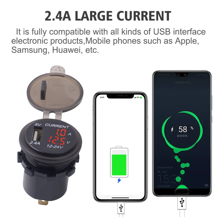 Universal Car Single Port USB Charger Power Outlet Adapter 2.4A 5V IP66 with LED Digital Voltmeter + Ammeter + 60cm Cable(Red Light) - Star Produkte