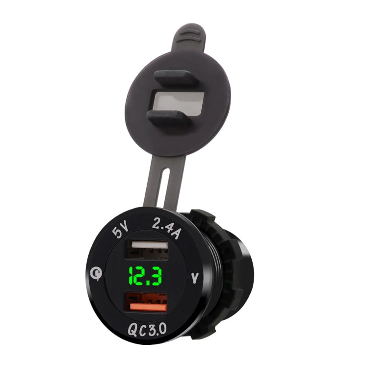 Universal Car QC3.0 Dual Port USB Charger Power Outlet Adapter 5V 2.4A IP66 with LED Digital Voltmeter(Green Light) |