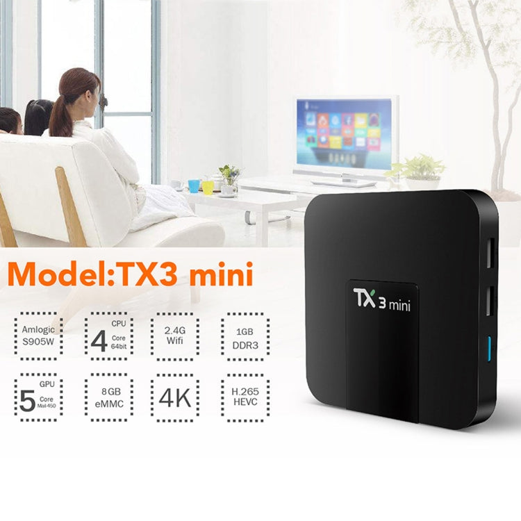 TX3 mini 4K HD Smart TV BOX,Android 8.1,S905W Quad Core Cortex-A53 Up to 2GHz,1GB+8GB, Support TF Card, SPDIF, LAN, AV, WiFi(Black) - Star Produkte