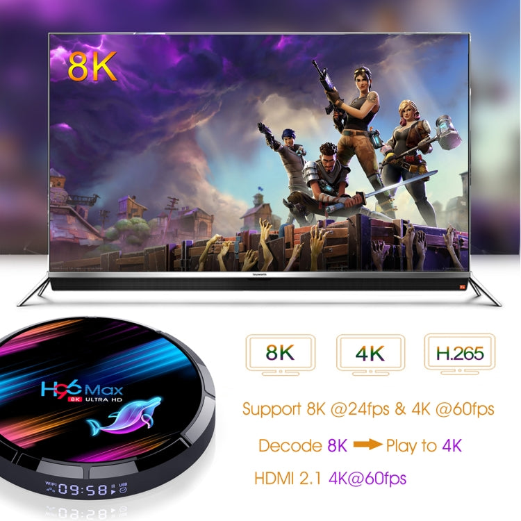 H96 MAX X3 8K UHD Smart TV Box with Remote Controller, Android 9.0 Amlogic S905X3 64-bit Quad-Core ARM Cortex A55 CPU, 4GB+128GB, Support Dual Band WiFi / AV / HDMI / RJ45 / SPDIF / USB / TF Card - Star Produkte