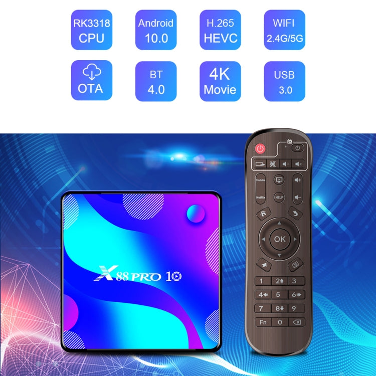 X88 Pro 10 4K Ultra HD Android TV Box with Remote Controller, Android 10.0, RK3318 Quad-Core 64bit Cortex-A53, 2GB+16GB, Support Bluetooth / Dual-Band WiFi / TF Card / USB / AV / Ethernet(EU Plug) - Star Produkte