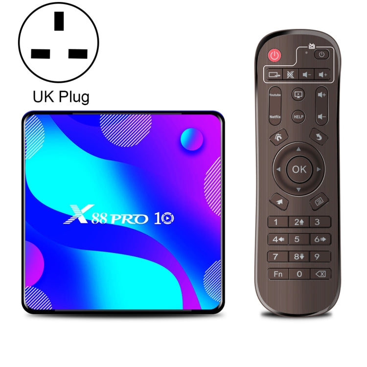 X88 Pro 10 4K Ultra HD Android TV Box with Remote Controller, Android 10.0, RK3318 Quad-Core 64bit Cortex-A53, 2GB+16GB, Support Bluetooth / Dual-Band WiFi / TF Card / USB / AV / Ethernet(UK Plug) |