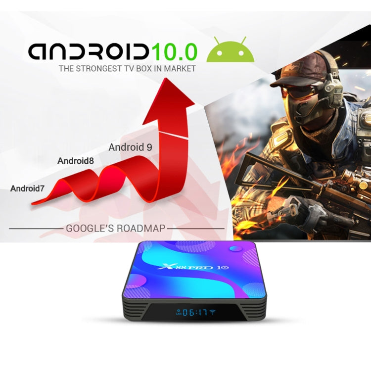 X88 Pro 10 4K Ultra HD Android TV Box with Remote Controller, Android 10.0, RK3318 Quad-Core 64bit Cortex-A53, 4GB+64GB, Support Bluetooth / Dual-Band WiFi / TF Card / USB / AV / Ethernet(EU Plug) - Star Produkte