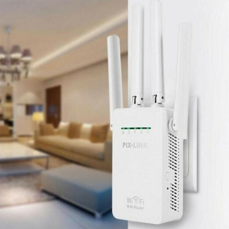 Wireless Smart WiFi Router Repeater with 4 WiFi Antennas, Plug Specification:EU Plug(White) |