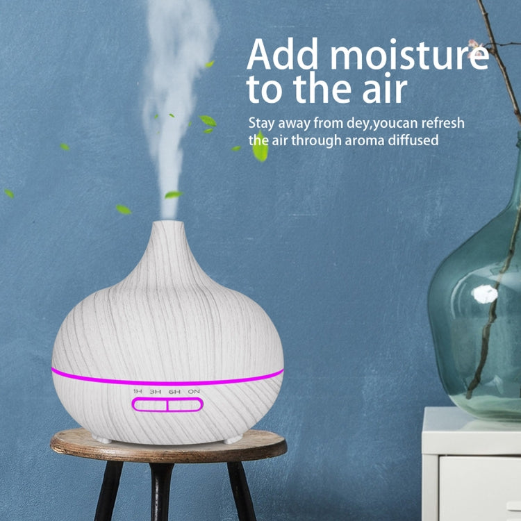 400ml Wood Texture Fragrance Machine Pointed Mouth Humidifier Automatic Alcohol Sprayer with Colorful LED Light, Plug Specification:EU Plug(White) |