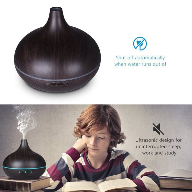 400ml Wood Texture Fragrance Machine Pointed Mouth Humidifier Automatic Alcohol Sprayer with Colorful LED Light, Plug Specification:EU Plug(Coffee) |