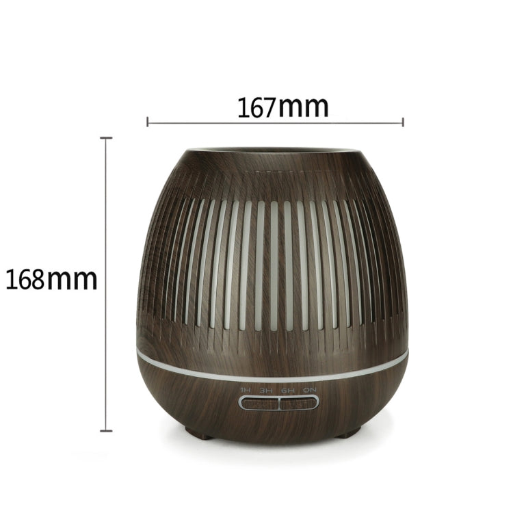 400ml Hollow-out LED Humidifier Wood Grain Air Purifier Aromatherapy Machine Automatic Alcohol Sprayer with Colorful LED Light, Plug Specification:UK Plug(Dark Brown) |