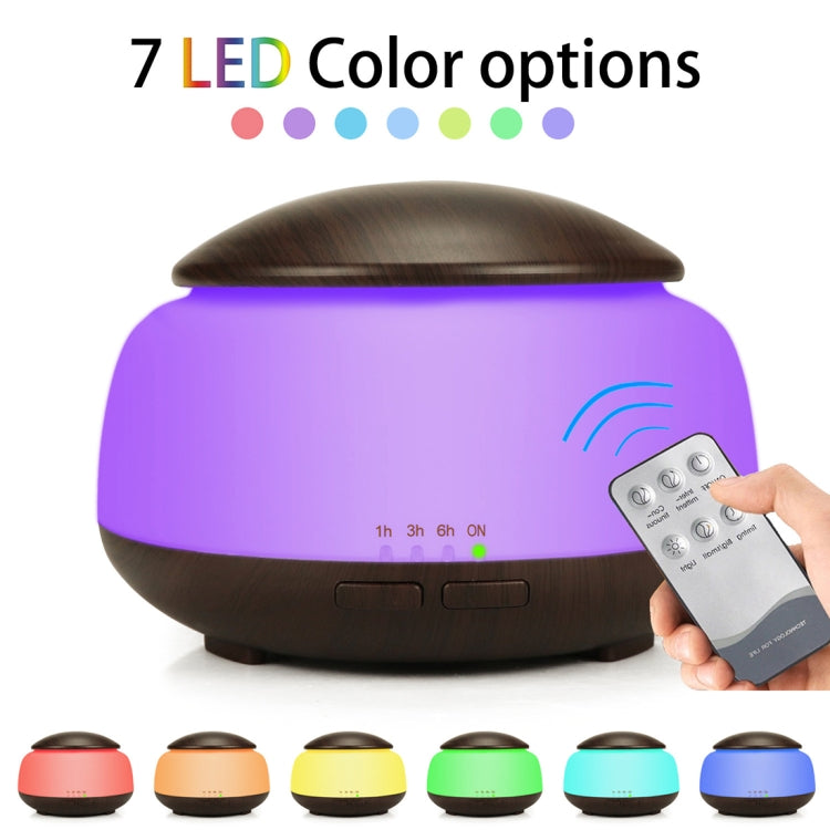Wood Grain Humidifier Air Purifier Ultrasonic Atomization Household Aromatherapy Machine with Colorful LED Light Automatic Alcohol Sprayer, Plug Specification:UK Plug(Dark Brown) - Star Produkte