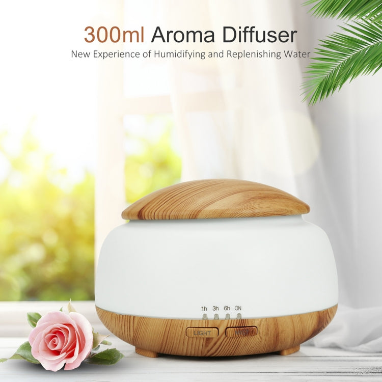Wood Grain Humidifier Air Purifier Ultrasonic Atomization Household Aromatherapy Machine with Colorful LED Light Automatic Alcohol Sprayer, Plug Specification:US Plug(Light Brown) |