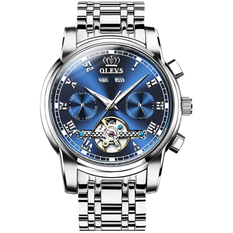 OLEVS 6607 Multi-function Men Big Flywheel Automatic Waterproof Mechanical Watch(Blue) - Star Produkte