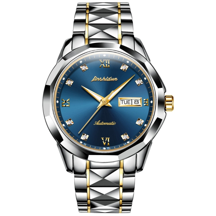 JIN SHI DUN 8813 Fashion Waterproof Luminous Automatic Mechanical Watch, Style:Men(Silver Gold Blue) - Star Produkte