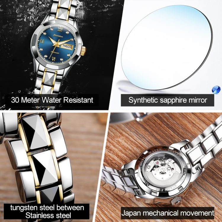 JIN SHI DUN 8813 Fashion Waterproof Luminous Automatic Mechanical Watch, Style:Women(Silver Gold Blue) - star-produkte.myshopify.com