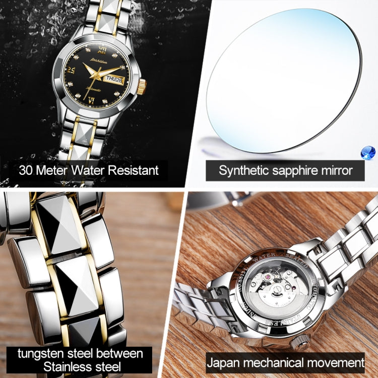 JIN SHI DUN 8813 Fashion Waterproof Luminous Automatic Mechanical Watch, Style:Women(Silver Gold Black) - Star Produkte