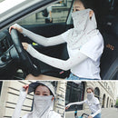 Summer Outdoor Floral Ice Silk Sunshade Face Mask Sun-proof Shawl(Grey) - Star Produkte