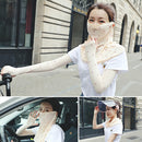 Summer Outdoor Floral Ice Silk Sunshade Face Mask Sun-proof Shawl(Flesh Color) - Star Produkte