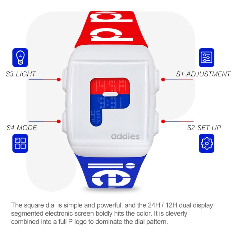 addies MY-1907 Luminous Multifunctional Silicone Sports Electronic Watch, Support Timing / Calendar / Alarm Clock, Style:E - star-produkte.myshopify.com