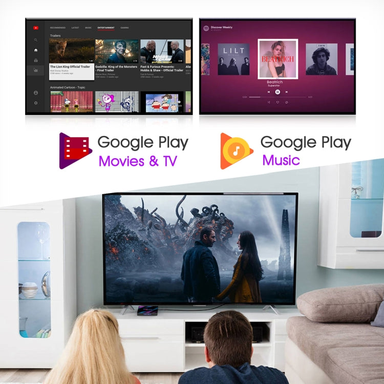 H96 Max-3318 4K Ultra HD Android TV Box with Remote Controller, Android 10.0, RK3318 Quad-Core 64bit Cortex-A53, 4GB+64GB, Support TF Card / USBx2 / AV / Ethernet, Plug Specification:US Plug - Star Produkte