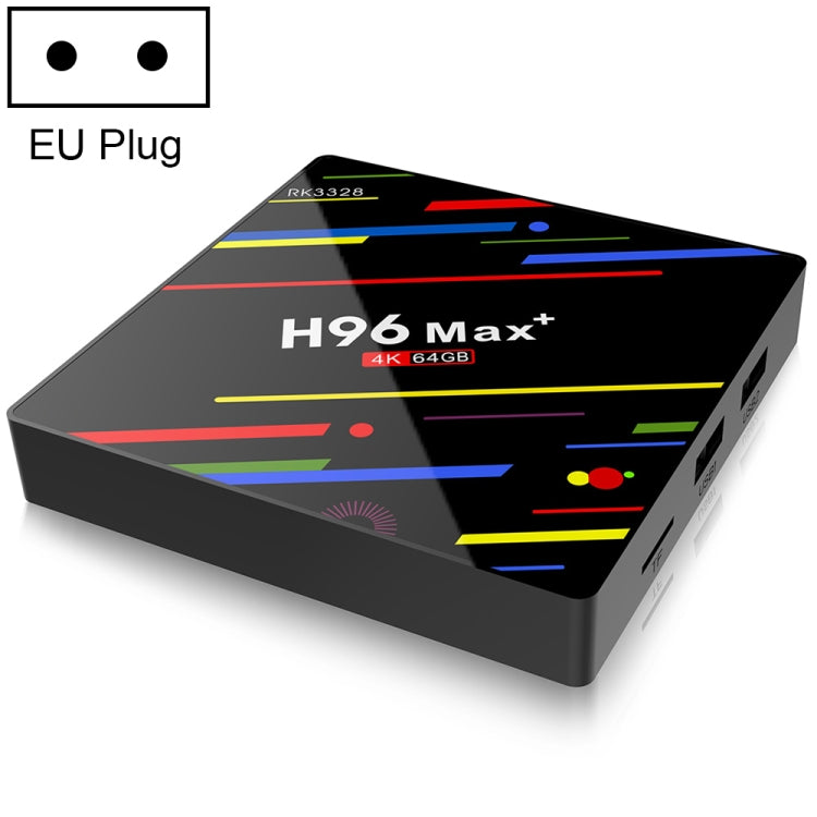 H96 Max+ 4K Ultra HD LED Display Media Player Smart TV Box with Remote Controller, Android 9.0, Voice Version, RK3328 Quad-Core 64bit Cortex-A53, 4GB+64GB, TF Card / USBx2 / AV / Ethernet, Plug Specification:EU Plug - Star Produkte