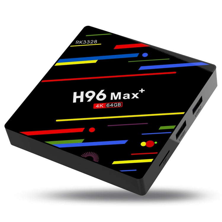 H96 Max+ 4K Ultra HD LED Display Media Player Smart TV Box with Remote Controller, Android 9.0, RK3328 Quad-Core 64bit Cortex-A53, 4GB+64GB, Support TF Card / USBx2 / AV / Ethernet, Plug Specification:EU Plug - Star Produkte