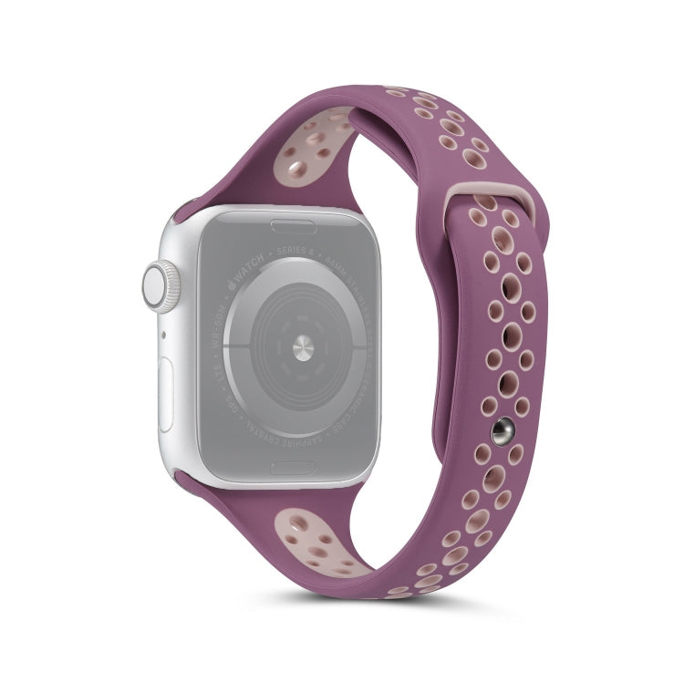 For Apple Watch Series 6 & SE & 5 & 4 40mm / 3 & 2 & 1 38mm Little Waist Two-colors Replacement Wrist Strap Watchband(Purple Pink) - star-produkte.myshopify.com