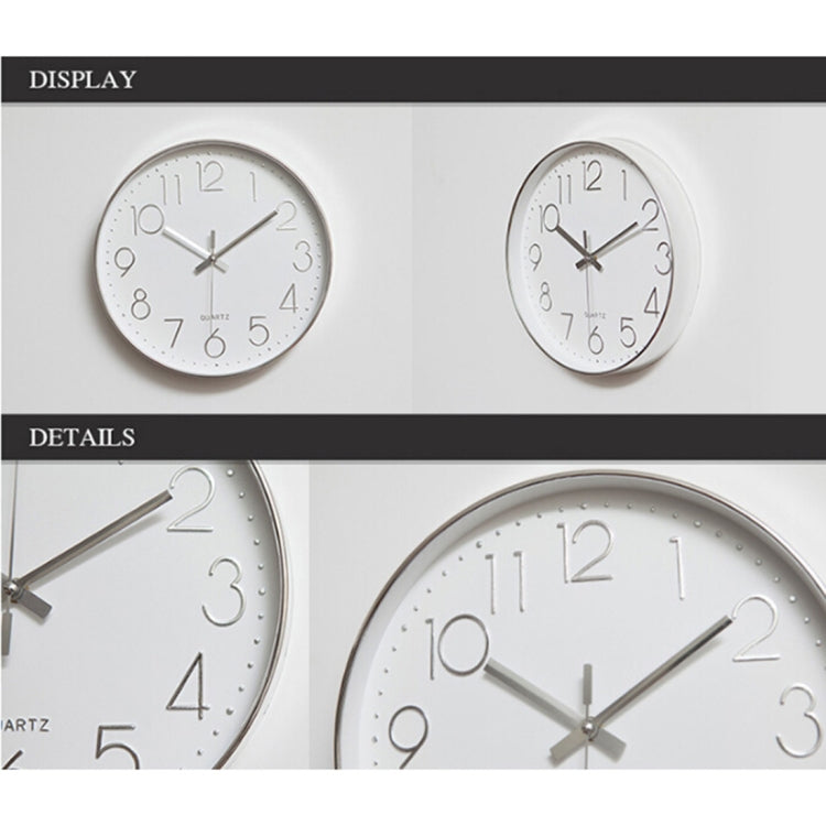 Home Office Room Modern Silent Non Ticking 12 inch Round Decorative Wall Quartz Clock (Silver) - Star Produkte