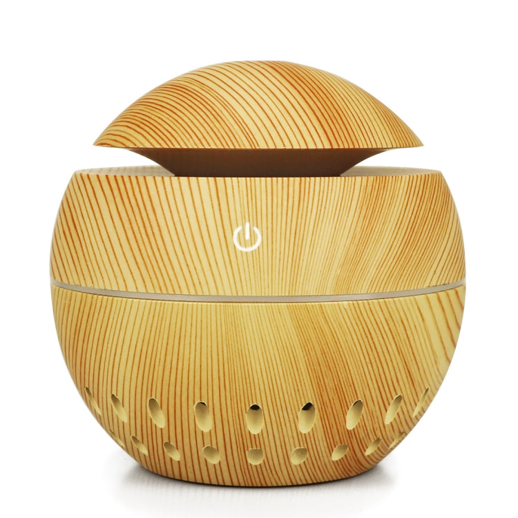 Wood Grain USB Hollowed-out Humidifier Seven Color Aromatherapy Lamp Automatic Alcohol Sprayer with Remote Control(Light Brown-2) |