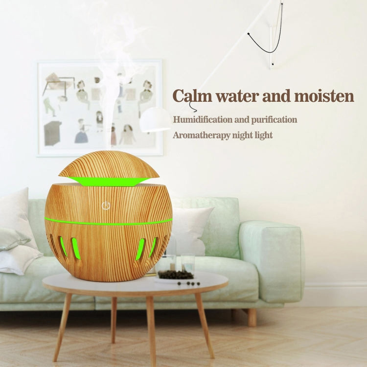 Wood Grain USB Hollowed-out Humidifier Seven Color Aromatherapy Lamp Automatic Alcohol Sprayer with Remote Control(Light Brown-2) - Star Produkte