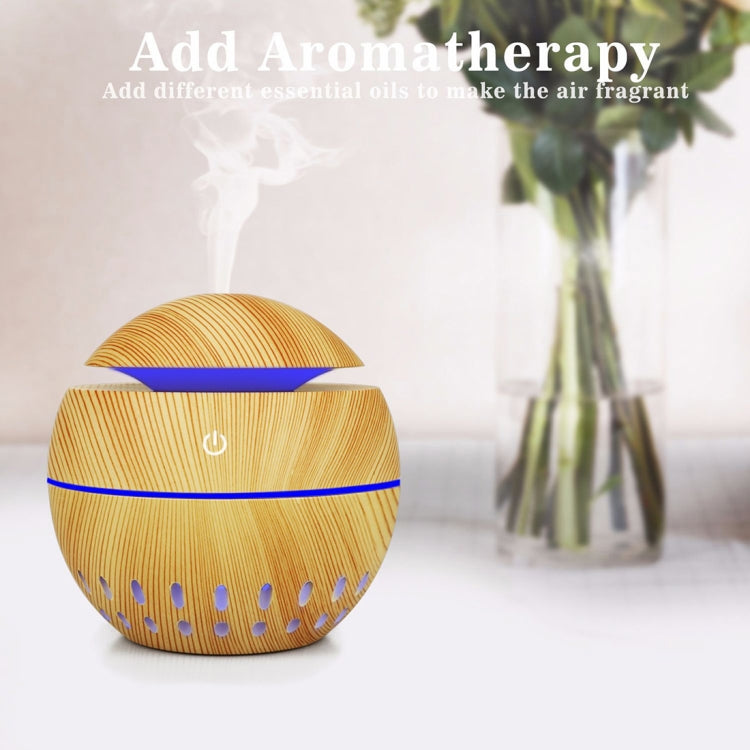 Wood Grain USB Hollowed-out Humidifier Seven Color Aromatherapy Lamp Automatic Alcohol Sprayer with Remote Control(White-1) |