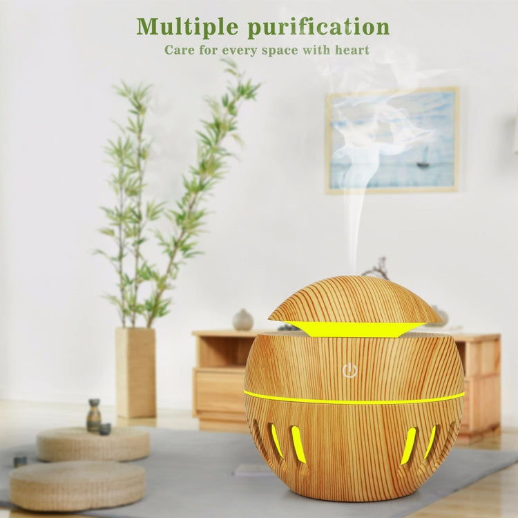 Wood Grain USB Hollowed-out Humidifier Seven Color Aromatherapy Lamp Automatic Alcohol Sprayer with Remote Control(White-1) - Star Produkte