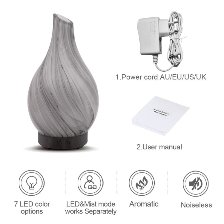 Creative Wood Grain Aromatherapy Machine Mini Glass Inclined Mouth Humidifier Automatic Alcohol Sprayer with Seven Color Lamp, Capacity: 100mL, EU Plug |