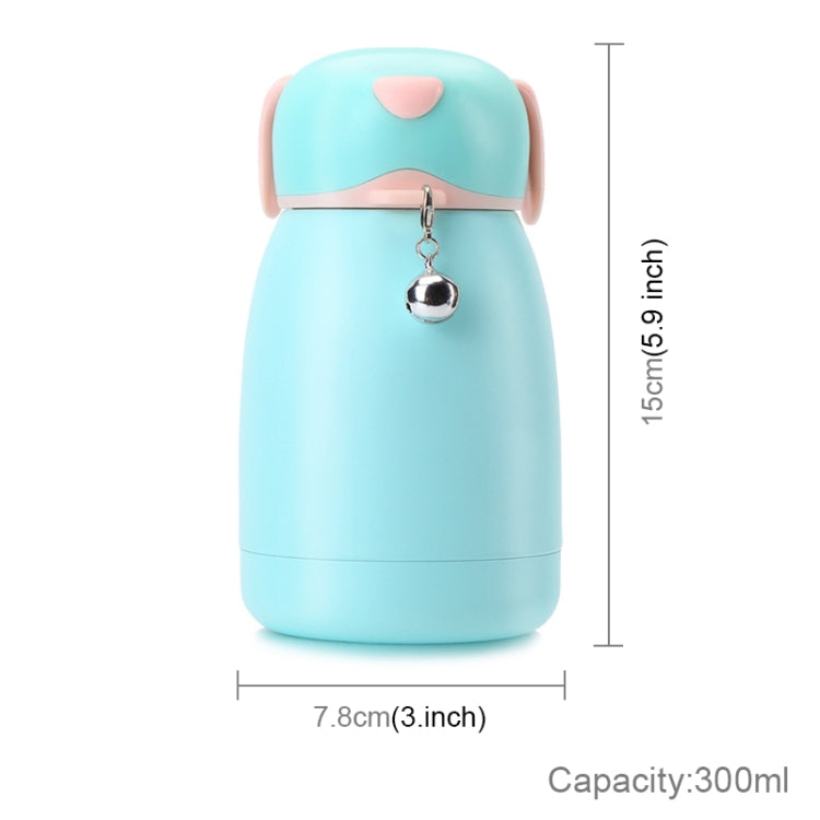 300mL Cartoon Puppy Shape with Bell Mug Cute Portable Children Student Stainless Steel Cup(Cyan) |