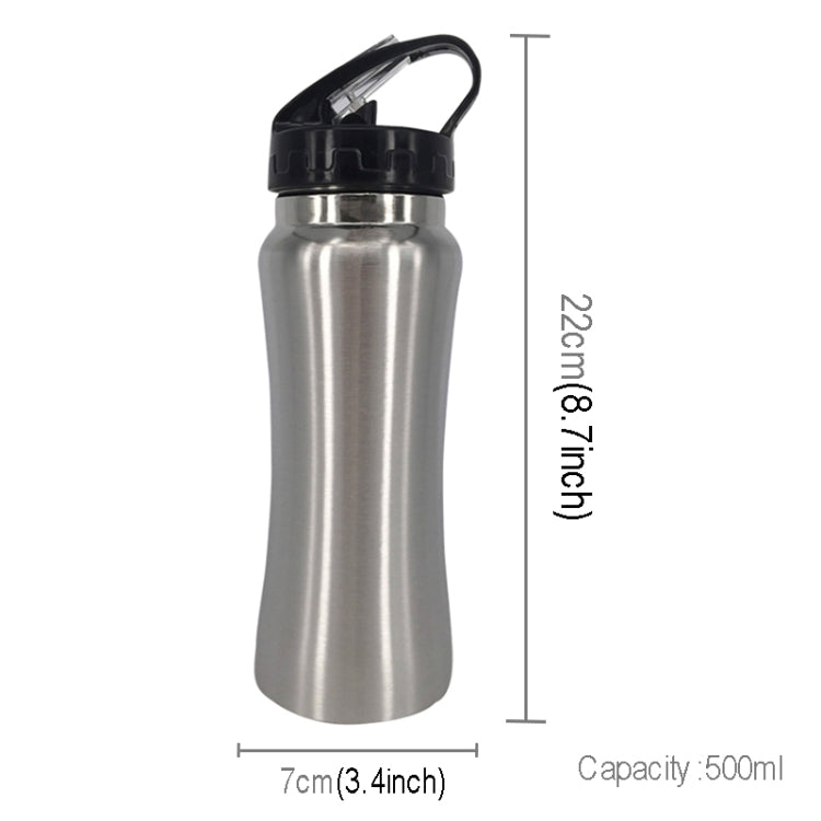 500ml Outdoor Healthy Sports Mug Single-layer Stainless Steel Curved Cup with Straw and Rope(Silver) |