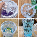 550ml Leak Proof Double Layer AS-Made Beverage Bottle With Cap And Straw For Summer Day(Purple) |