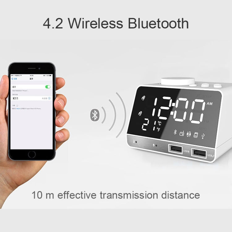 K11 Bluetooth Alarm Clock Speaker Creative Digital Music Clock Display Radio with Dual USB Interface, Support U Disk / TF Card / FM / AUX, US Plug(White) - star-produkte.myshopify.com