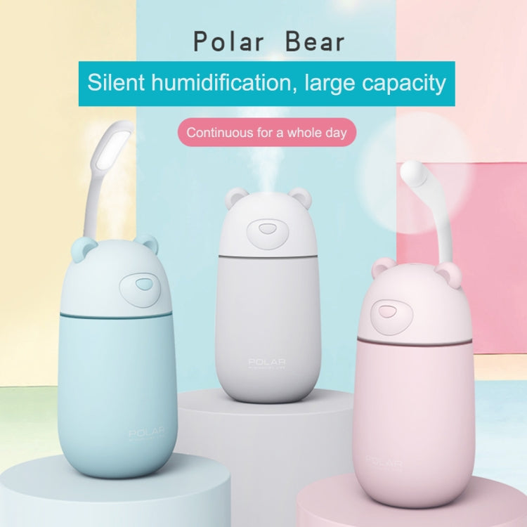 Creative Mini Portable Polar Bear Shape Mute Desktop Air Humidifier with Extended USB Port, Capacity: 320ml, DC 5V(White) |