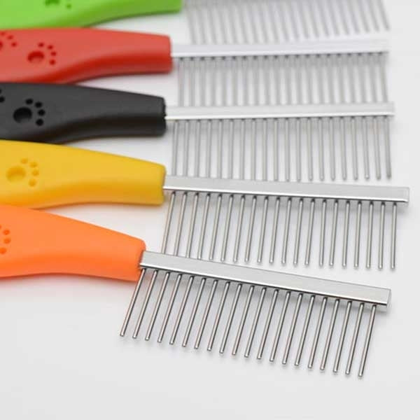 10 PCS Stainless Steel Pet Anti-slip Handle Grooming Comb(Yellow) - star-produkte.myshopify.com