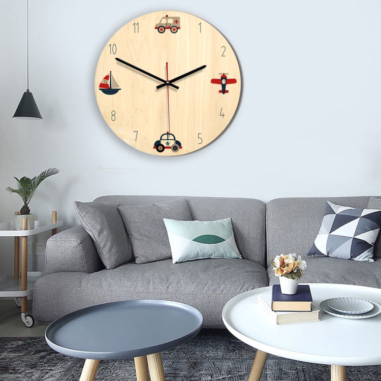 Vehicle Pattern Home Office Bedroom Decoration Wooden Mute Wall Clock,Size : 28cm |