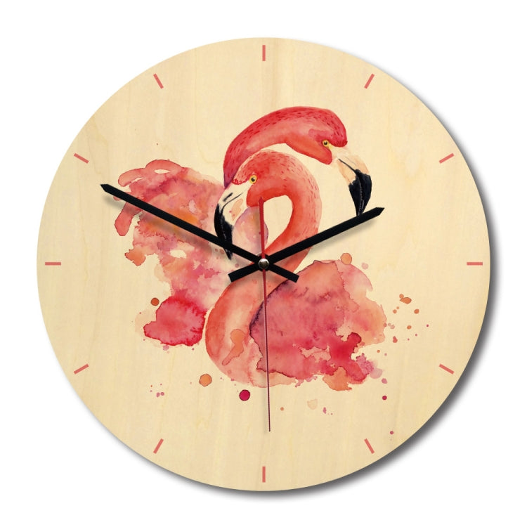 Flamingos Pattern Home Office Bedroom Decoration Wooden Mute Wall Clock, Size : 28cm - star-produkte.myshopify.com