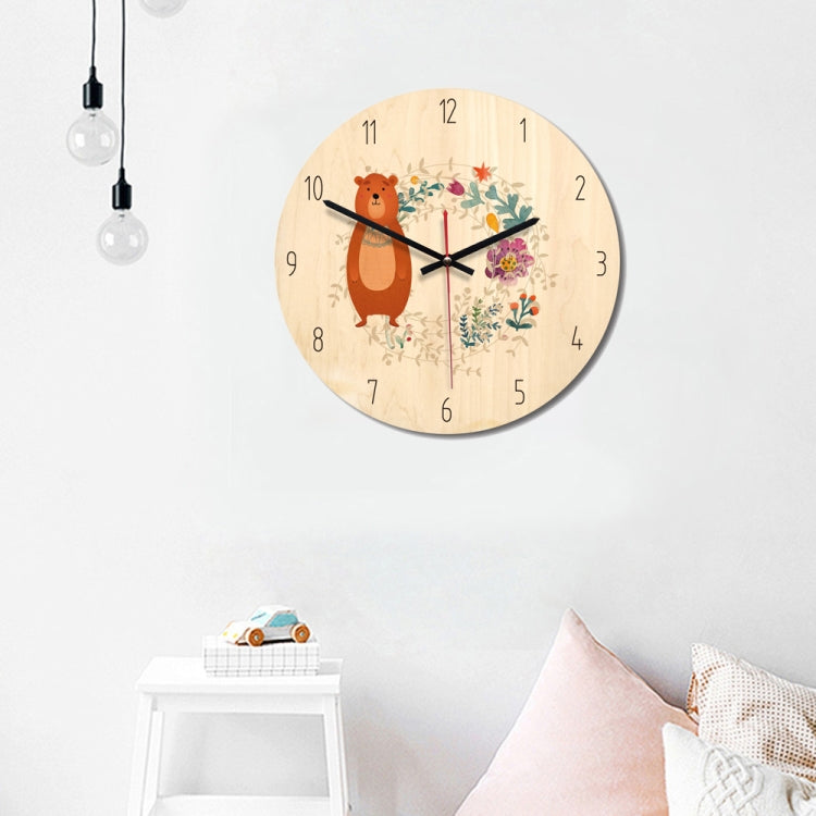 Forest Style Bear Pattern Home Office Bedroom Decoration Wooden Mute Wall Clock, Size : 28cm - star-produkte.myshopify.com